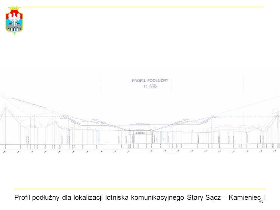 41 Profil podłużny dla lokalizacji lotniska komunikacyjnego Stary Sącz – Kamieniec I