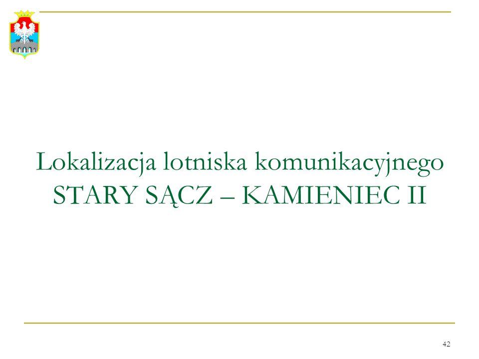 42 Lokalizacja lotniska komunikacyjnego STARY SĄCZ – KAMIENIEC II