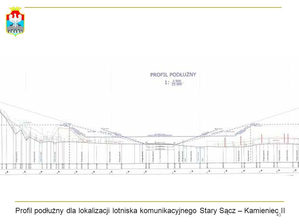 45 Profil podłużny dla lokalizacji lotniska komunikacyjnego Stary Sącz – Kamieniec II