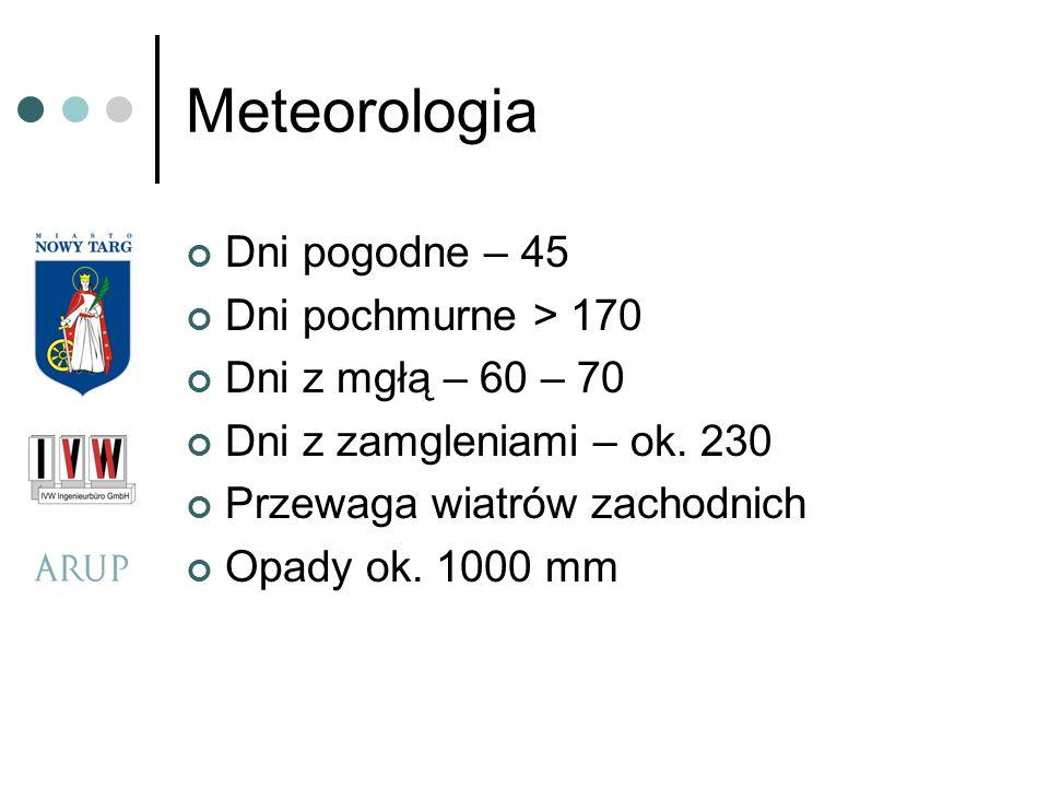 Meteorologia Dni pogodne – 45 Dni pochmurne > 170 Dni z mgłą – 60 – 70 Dni z zamgleniami – ok. 230 Przewaga wiatrów zachodnich Opady ok. 1000 mm