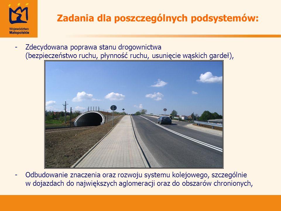 Zadania dla poszczególnych podsystemów: -Zdecydowana poprawa stanu drogownictwa (bezpieczeństwo ruchu, płynność ruchu, usunięcie wąskich gardeł), -Odb