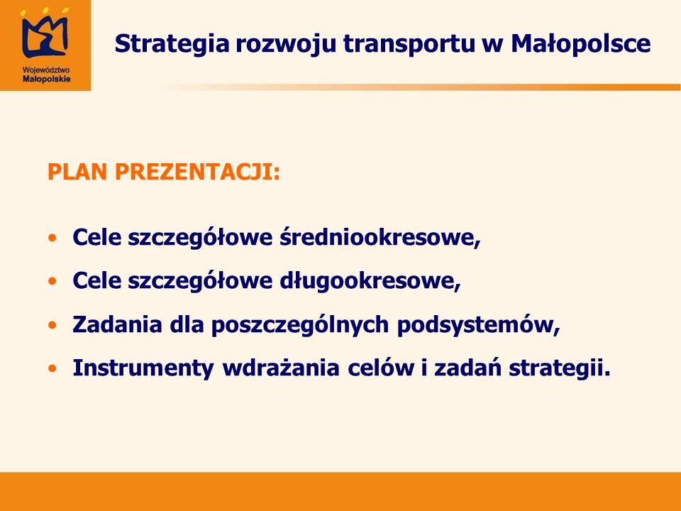 Cele szczegółowe średniookresowe: -Zbudowanie sprawnego systemu zarządzania, opartego na podniesieniu świadomości użytkowników oraz rozwiniętej współpracy różnych jednostek; -Usunięcie najważniejszych zaniedbań w infrastrukturze, -Zatrzymanie tendencji do marginalizacji transportu zbiorowego,