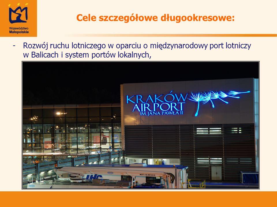 Cele szczegółowe długookresowe: -Rozwój ruchu lotniczego w oparciu o międzynarodowy port lotniczy w Balicach i system portów lokalnych,