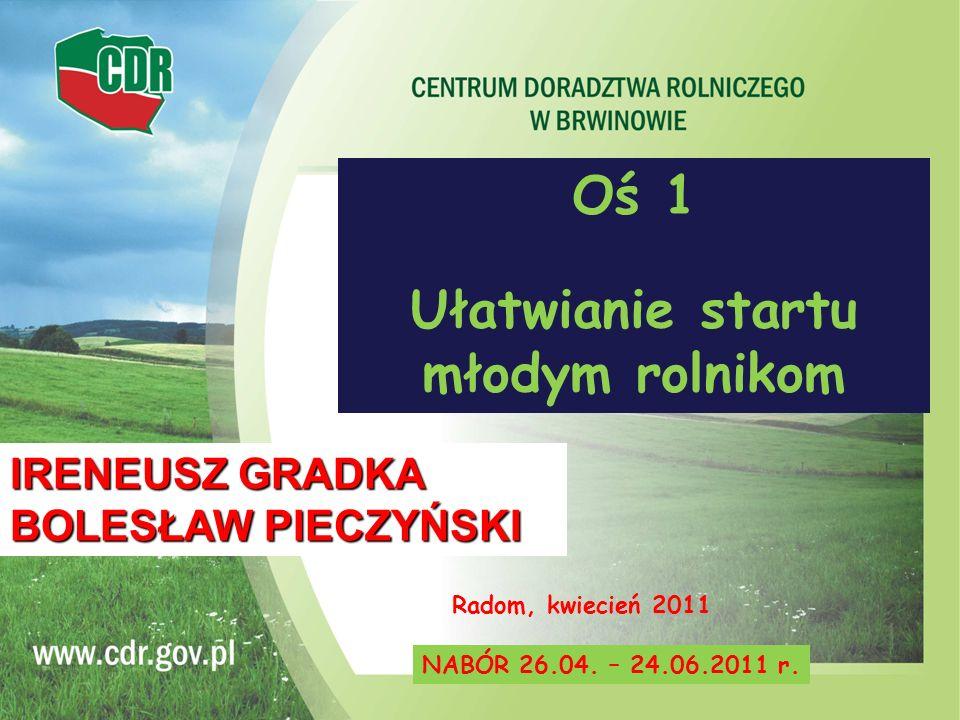 Oś 1 Ułatwianie startu młodym rolnikom Radom, kwiecień 2011 NABÓR 26.04. – 24.06.2011 r. IRENEUSZ GRADKA BOLESŁAW PIECZYŃSKI