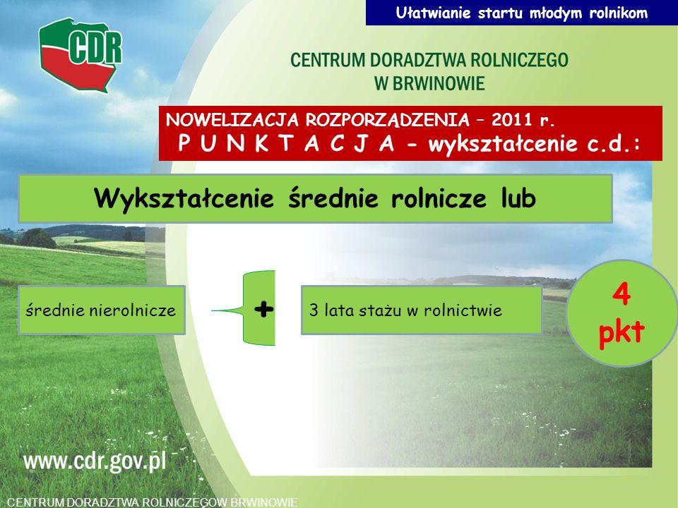 Wykształcenie średnie rolnicze lub średnie nierolnicze3 lata stażu w rolnictwie 4 pkt + NOWELIZACJA ROZPORZĄDZENIA – 2011 r. P U N K T A C J A - wyksz