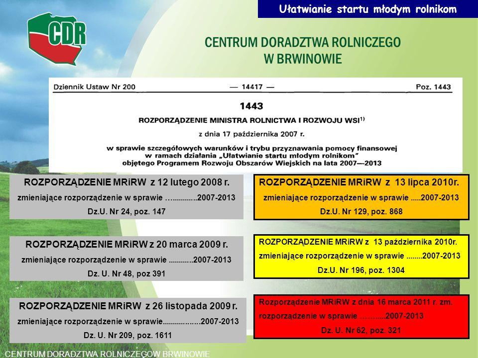 Ułatwianie startu młodym rolnikom ROZPORZĄDZENIE MRiRW z 12 lutego 2008 r. zmieniające rozporządzenie w sprawie …............2007-2013 Dz.U. Nr 24, po