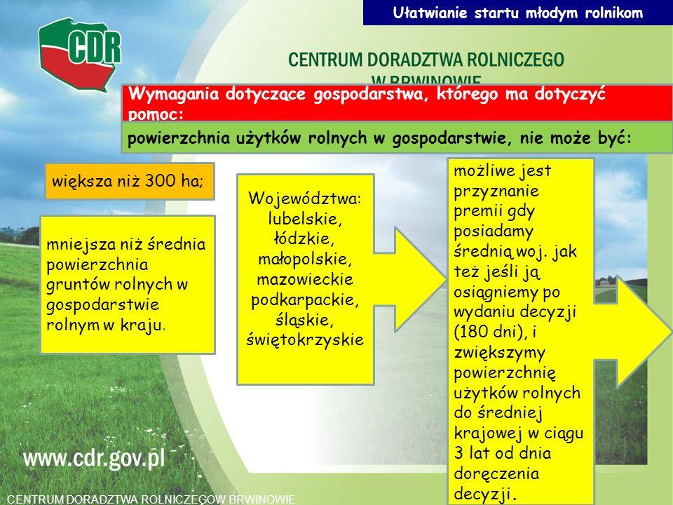 Wymagania dotyczące gospodarstwa, którego ma dotyczyć pomoc: powierzchnia użytków rolnych w gospodarstwie, nie może być: większa niż 300 ha; mniejsza