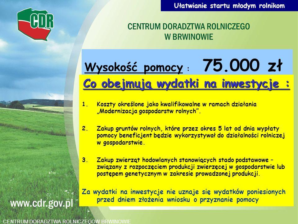 Ułatwianie startu młodym rolnikom Wysokość pomocy : 75.000 zł Co obejmują wydatki na inwestycje : 1.Koszty określone jako kwalifikowalne w ramach dzia