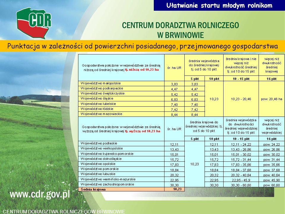 Punktacja w zależności od powierzchni posiadanego, przejmowanego gospodarstwa Ułatwianie startu młodym rolnikom CENTRUM DORADZTWA ROLNICZEGOW BRWINOWI