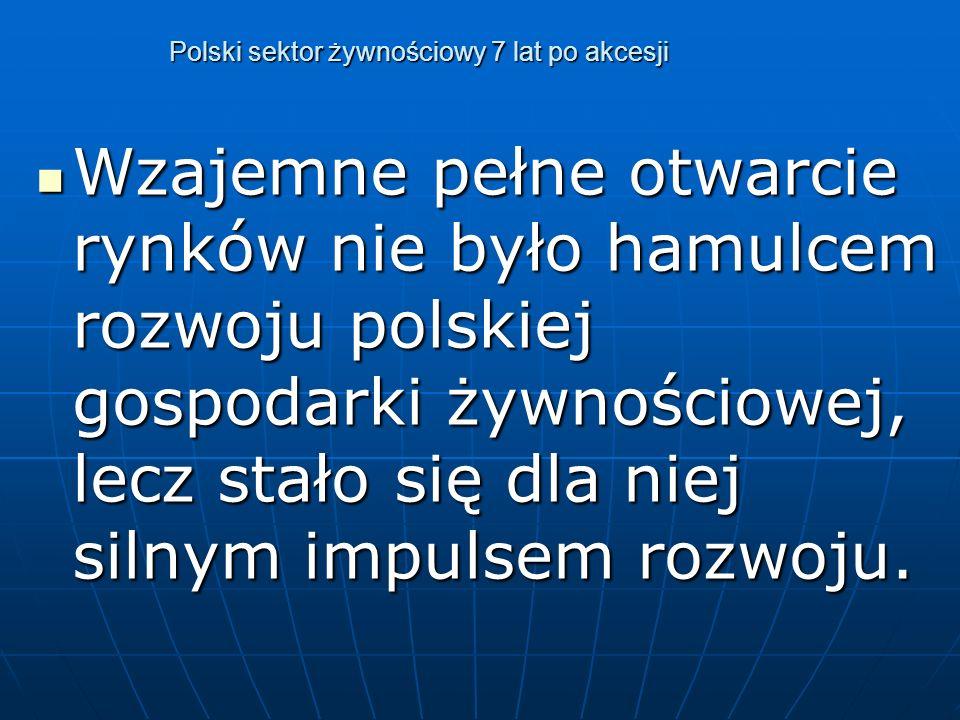 Polski sektor żywnościowy 7 lat po akcesji Wzajemne pełne otwarcie rynków nie było hamulcem rozwoju polskiej gospodarki żywnościowej, lecz stało się dla niej silnym impulsem rozwoju.
