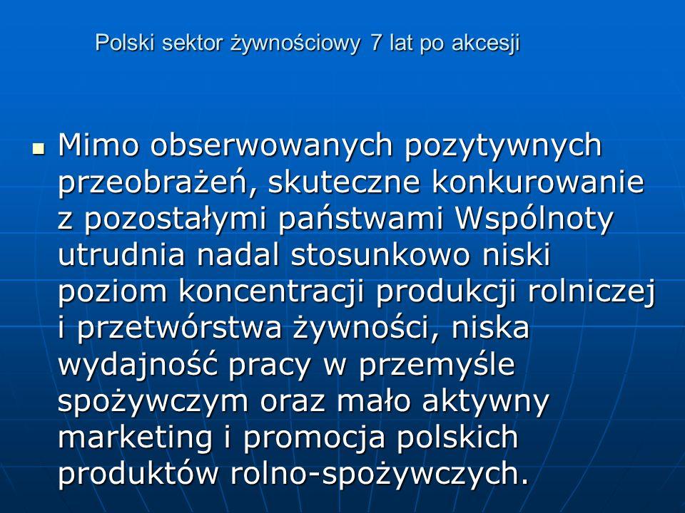 Polski sektor żywnościowy 7 lat po akcesji Mimo obserwowanych pozytywnych przeobrażeń, skuteczne konkurowanie z pozostałymi państwami Wspólnoty utrudnia nadal stosunkowo niski poziom koncentracji produkcji rolniczej i przetwórstwa żywności, niska wydajność pracy w przemyśle spożywczym oraz mało aktywny marketing i promocja polskich produktów rolno-spożywczych.