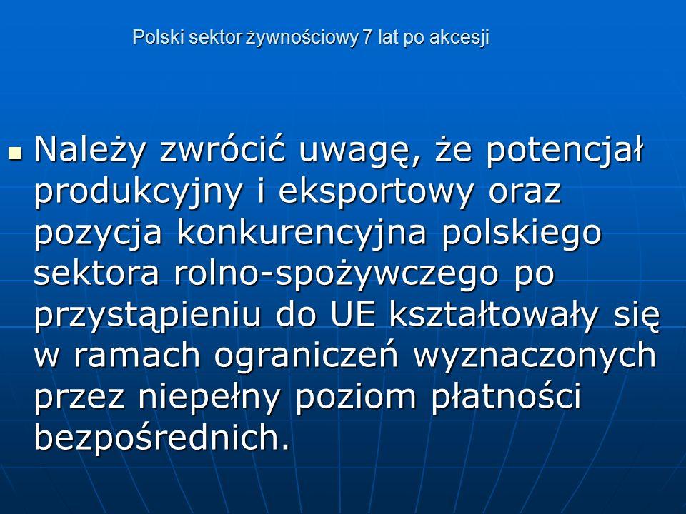 Polski sektor żywnościowy 7 lat po akcesji Należy zwrócić uwagę, że potencjał produkcyjny i eksportowy oraz pozycja konkurencyjna polskiego sektora rolno-spożywczego po przystąpieniu do UE kształtowały się w ramach ograniczeń wyznaczonych przez niepełny poziom płatności bezpośrednich.