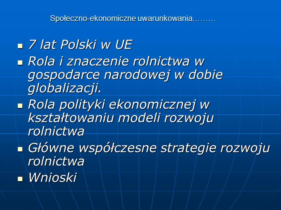 Społeczno-ekonomiczne uwarunkowania……… 7 lat Polski w UE 7 lat Polski w UE Rola i znaczenie rolnictwa w gospodarce narodowej w dobie globalizacji.