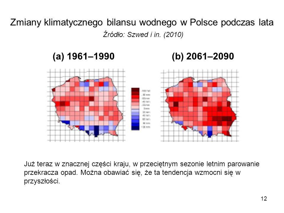 12 Zmiany klimatycznego bilansu wodnego w Polsce podczas lata Źródło: Szwed i in. (2010) (a) 1961–1990 (b) 2061–2090 Już teraz w znacznej części kraju