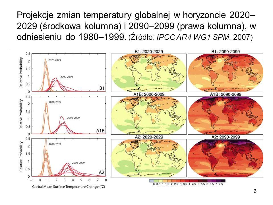 6 Projekcje zmian temperatury globalnej w horyzoncie 2020– 2029 (środkowa kolumna) i 2090–2099 (prawa kolumna), w odniesieniu do 1980–1999. (Źródło: I