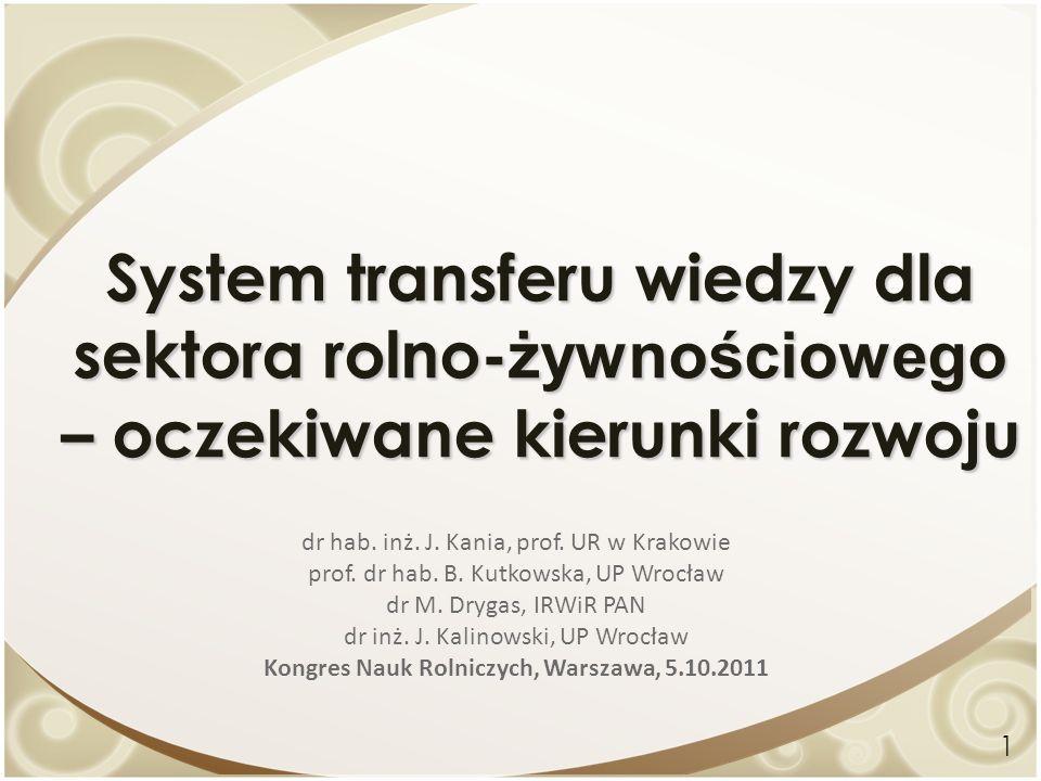 System transferu wiedzy dla sektora rolno- żywnościowego – oczekiwane kierunki rozwoju dr hab. inż. J. Kania, prof. UR w Krakowie prof. dr hab. B. Kut