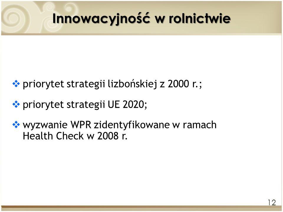 12 Innowacyjność w rolnictwie priorytet strategii lizbońskiej z 2000 r.; p riorytet strategii UE 2020; wyzwanie WPR zidentyfikowane w ramach Health Ch