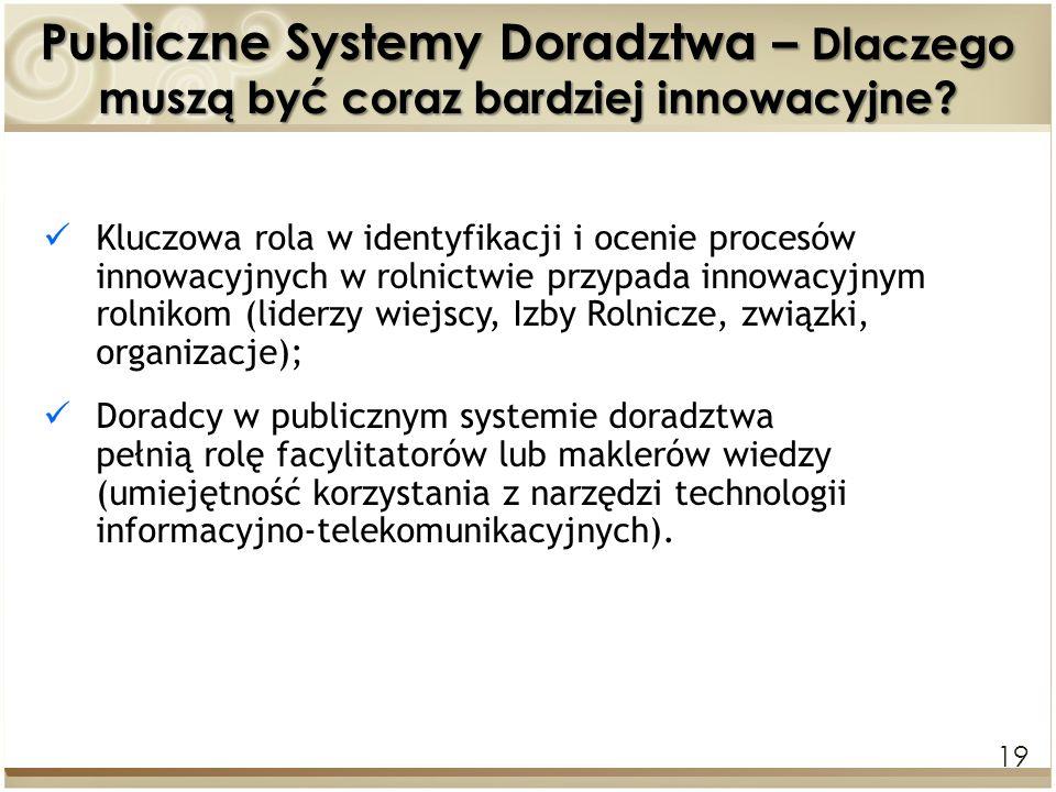19 Publiczne Systemy Doradztwa – Dlaczego muszą być coraz bardziej innowacyjne? Kluczowa rola w identyfikacji i ocenie procesów innowacyjnych w rolnic