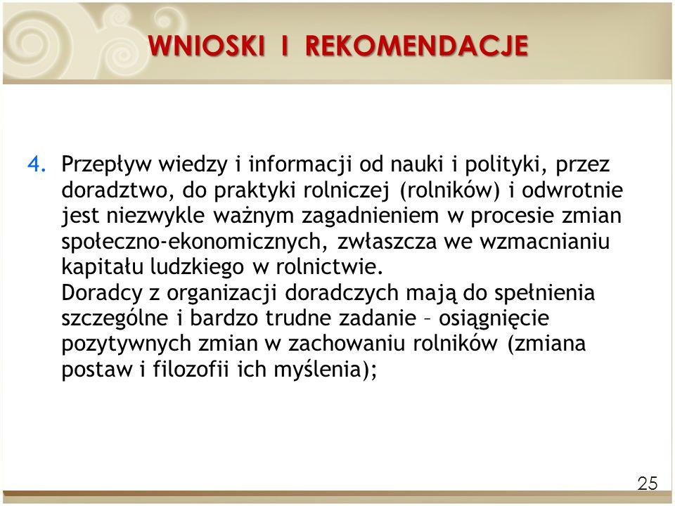 WNIOSKI I REKOMENDACJE 25 4.Przepływ wiedzy i informacji od nauki i polityki, przez doradztwo, do praktyki rolniczej (rolników) i odwrotnie jest niezw
