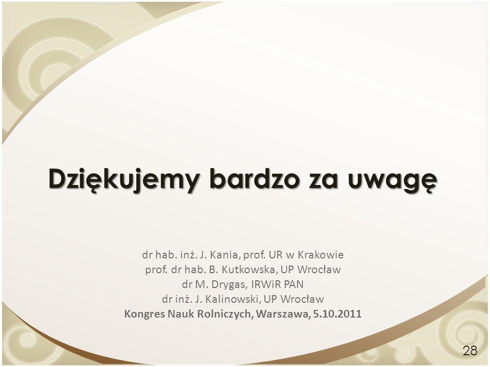 Dziękujemy bardzo za uwagę 28 dr hab. inż. J. Kania, prof. UR w Krakowie prof. dr hab. B. Kutkowska, UP Wrocław dr M. Drygas, IRWiR PAN dr inż. J. Kal