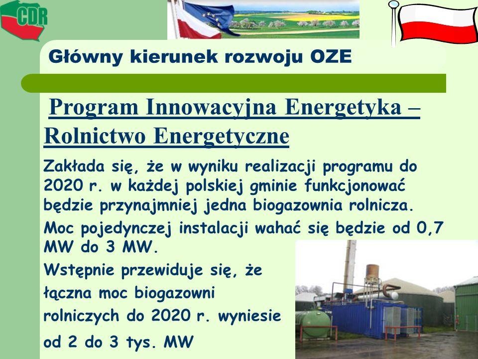 Główny kierunek rozwoju OZE Program Innowacyjna Energetyka – Rolnictwo Energetyczne Zakłada się, że w wyniku realizacji programu do 2020 r. w każdej p