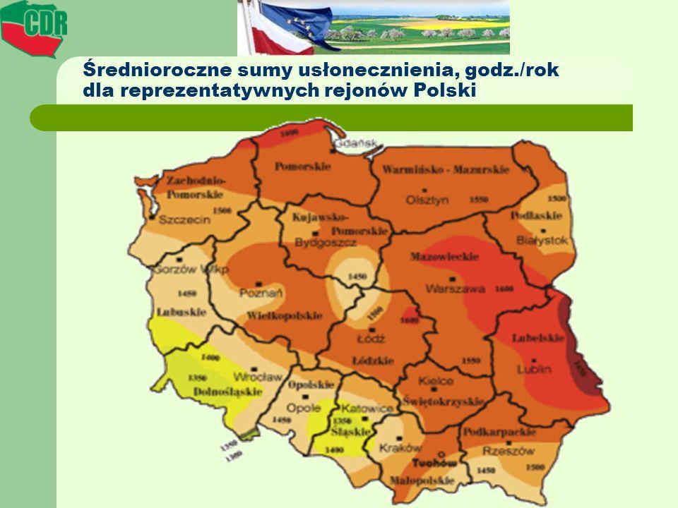 Średnioroczne sumy usłonecznienia, godz./rok dla reprezentatywnych rejonów Polski