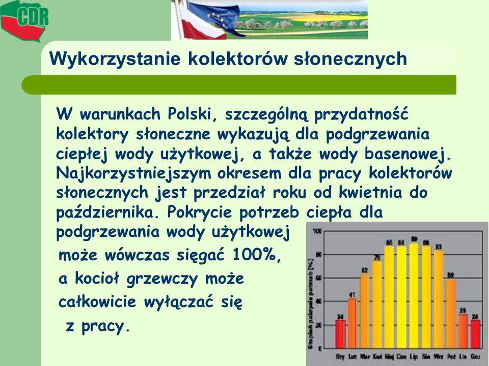 Wykorzystanie kolektorów słonecznych W warunkach Polski, szczególną przydatność kolektory słoneczne wykazują dla podgrzewania ciepłej wody użytkowej,