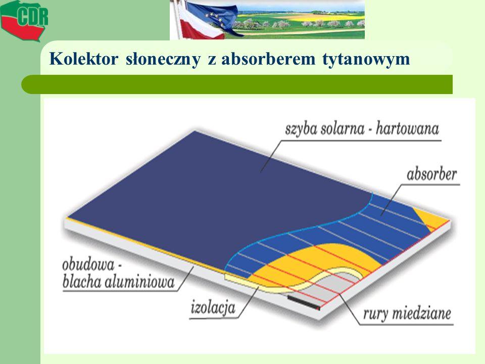 Kolektor słoneczny z absorberem tytanowym