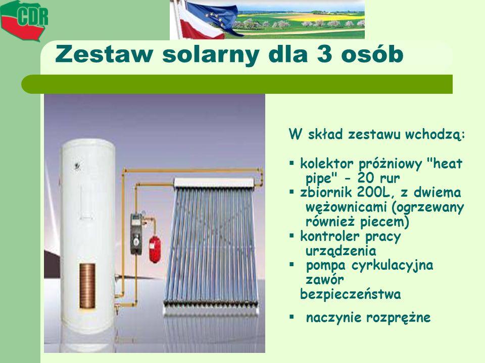 Zestaw solarny dla 3 osób W skład zestawu wchodzą: kolektor próżniowy