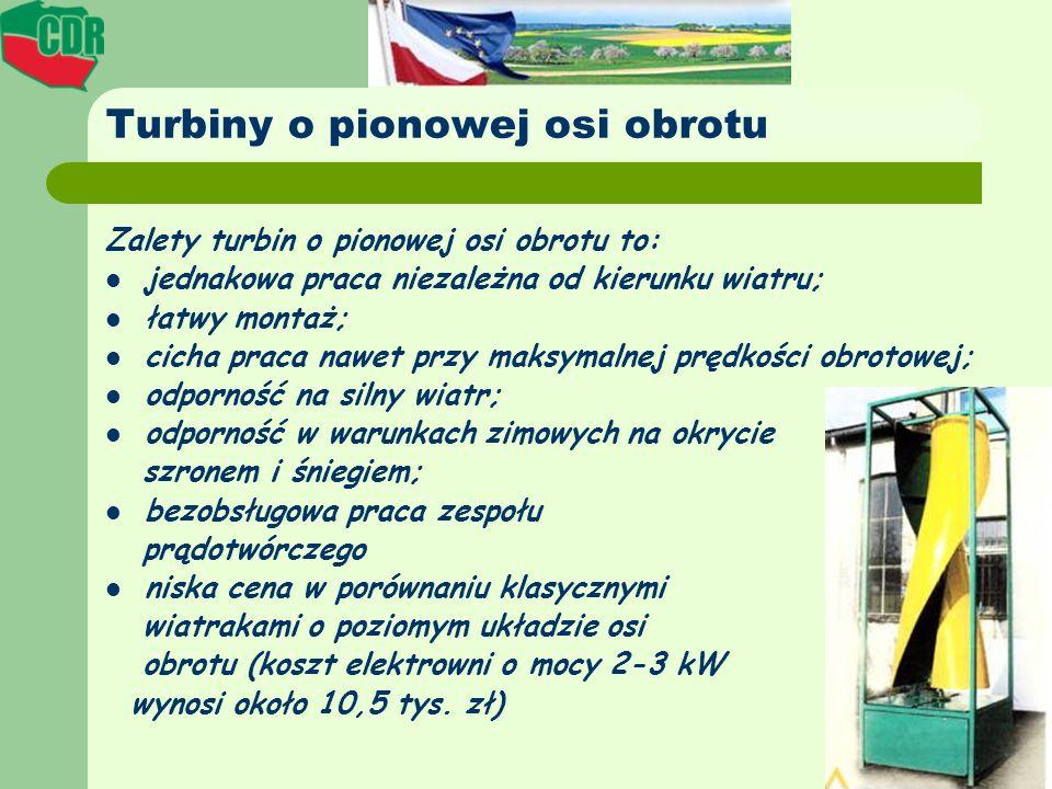 Turbiny o pionowej osi obrotu Zalety turbin o pionowej osi obrotu to: jednakowa praca niezależna od kierunku wiatru; łatwy montaż; cicha praca nawet p
