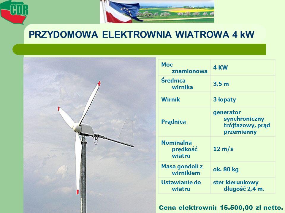 PRZYDOMOWA ELEKTROWNIA WIATROWA 4 kW Moc znamionowa 4 KW Średnica wirnika 3,5 m Wirnik3 łopaty Prądnica generator synchroniczny trójfazowy, prąd przem