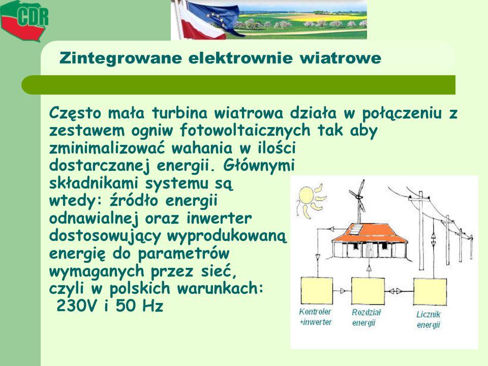 Często mała turbina wiatrowa działa w połączeniu z zestawem ogniw fotowoltaicznych tak aby zminimalizować wahania w ilości dostarczanej energii. Główn