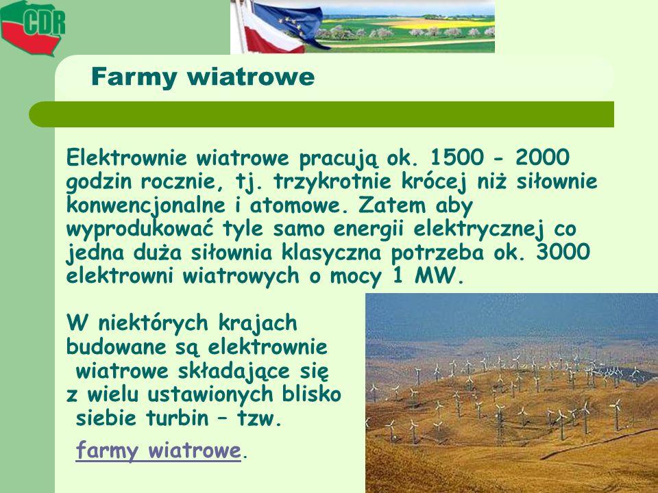 Elektrownie wiatrowe pracują ok. 1500 - 2000 godzin rocznie, tj. trzykrotnie krócej niż siłownie konwencjonalne i atomowe. Zatem aby wyprodukować tyle