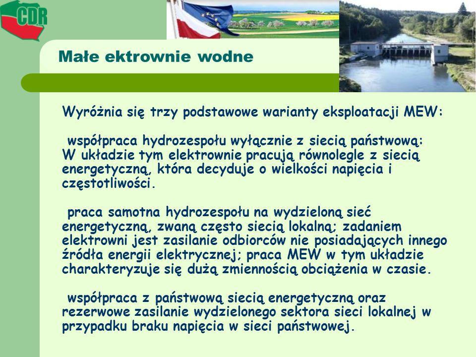 Wyróżnia się trzy podstawowe warianty eksploatacji MEW: współpraca hydrozespołu wyłącznie z siecią państwową: W układzie tym elektrownie pracują równo