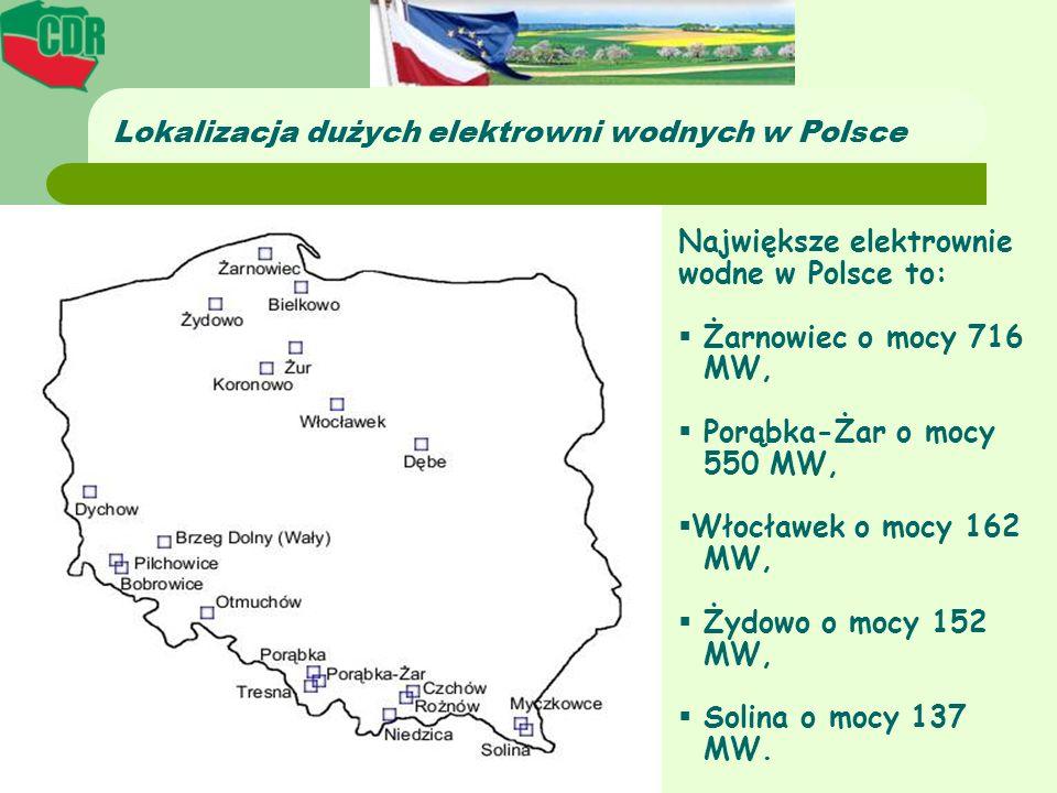 Lokalizacja dużych elektrowni wodnych w Polsce Największe elektrownie wodne w Polsce to: Żarnowiec o mocy 716 MW, Porąbka-Żar o mocy 550 MW, Włocławek