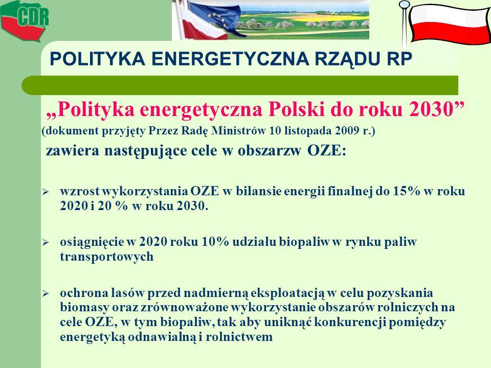 POLITYKA ENERGETYCZNA RZĄDU RP Polityka energetyczna Polski do roku 2030 (dokument przyjęty Przez Radę Ministrów 10 listopada 2009 r.) zawiera następu