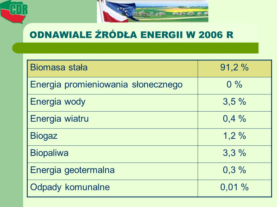 ODNAWIALE ŹRÓDŁA ENERGII W 2006 R Biomasa stała91,2 % Energia promieniowania słonecznego0 % Energia wody3,5 % Energia wiatru0,4 % Biogaz1,2 % Biopaliw