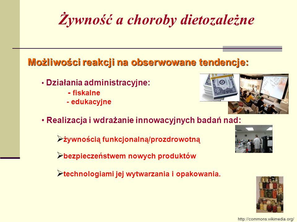 Działania administracyjne: - fiskalne - edukacyjne Realizacja i wdrażanie innowacyjnych badań nad: żywnością funkcjonalną/prozdrowotną bezpieczeństwem nowych produktów technologiami jej wytwarzania i opakowania.