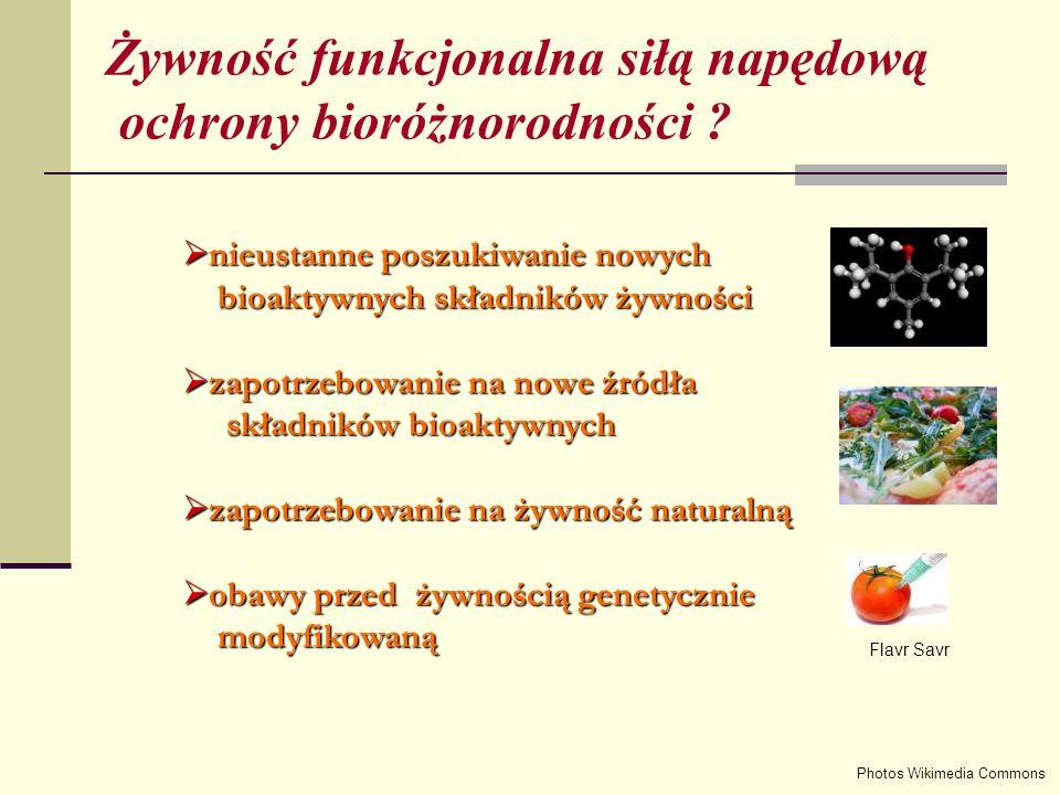 nieustanne poszukiwanie nowych nieustanne poszukiwanie nowych bioaktywnych składników żywności bioaktywnych składników żywności zapotrzebowanie na nowe źródła zapotrzebowanie na nowe źródła składników bioaktywnych składników bioaktywnych zapotrzebowanie na żywność naturalną zapotrzebowanie na żywność naturalną obawy przed żywnością genetycznie obawy przed żywnością genetycznie modyfikowaną modyfikowaną Photos Wikimedia Commons Flavr Savr Żywność funkcjonalna siłą napędową ochrony bioróżnorodności ?