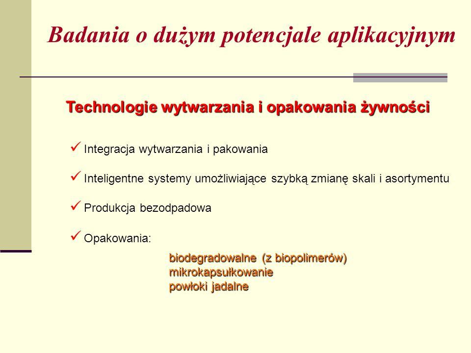 Badania o dużym potencjale aplikacyjnym Technologie wytwarzania i opakowania żywności Inteligentne systemy umożliwiające szybką zmianę skali i asortymentu Integracja wytwarzania i pakowania Opakowania: Produkcja bezodpadowa biodegradowalne (z biopolimerów) mikrokapsułkowanie powłoki jadalne