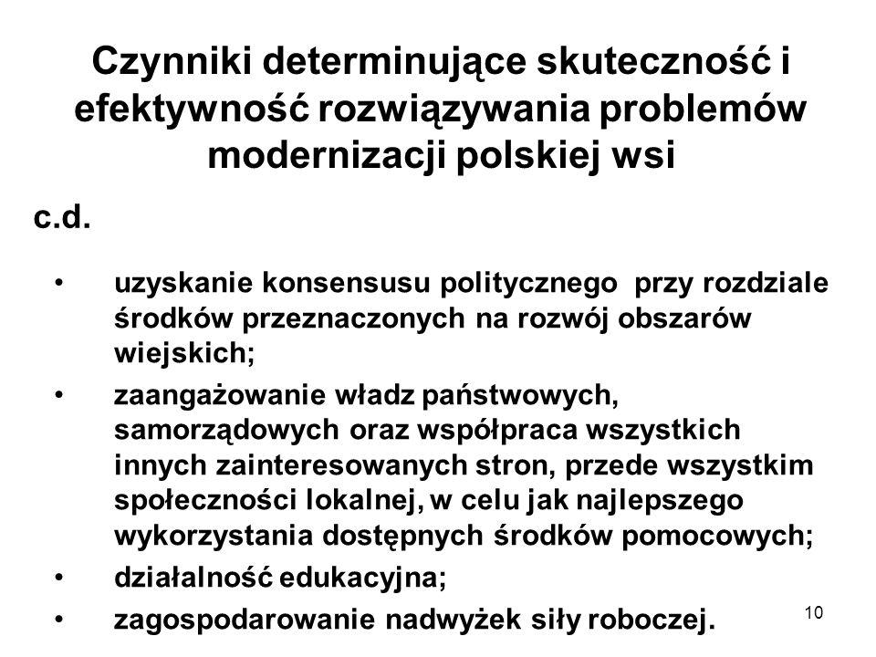 10 Czynniki determinujące skuteczność i efektywność rozwiązywania problemów modernizacji polskiej wsi uzyskanie konsensusu politycznego przy rozdziale środków przeznaczonych na rozwój obszarów wiejskich; zaangażowanie władz państwowych, samorządowych oraz współpraca wszystkich innych zainteresowanych stron, przede wszystkim społeczności lokalnej, w celu jak najlepszego wykorzystania dostępnych środków pomocowych; działalność edukacyjna; zagospodarowanie nadwyżek siły roboczej.