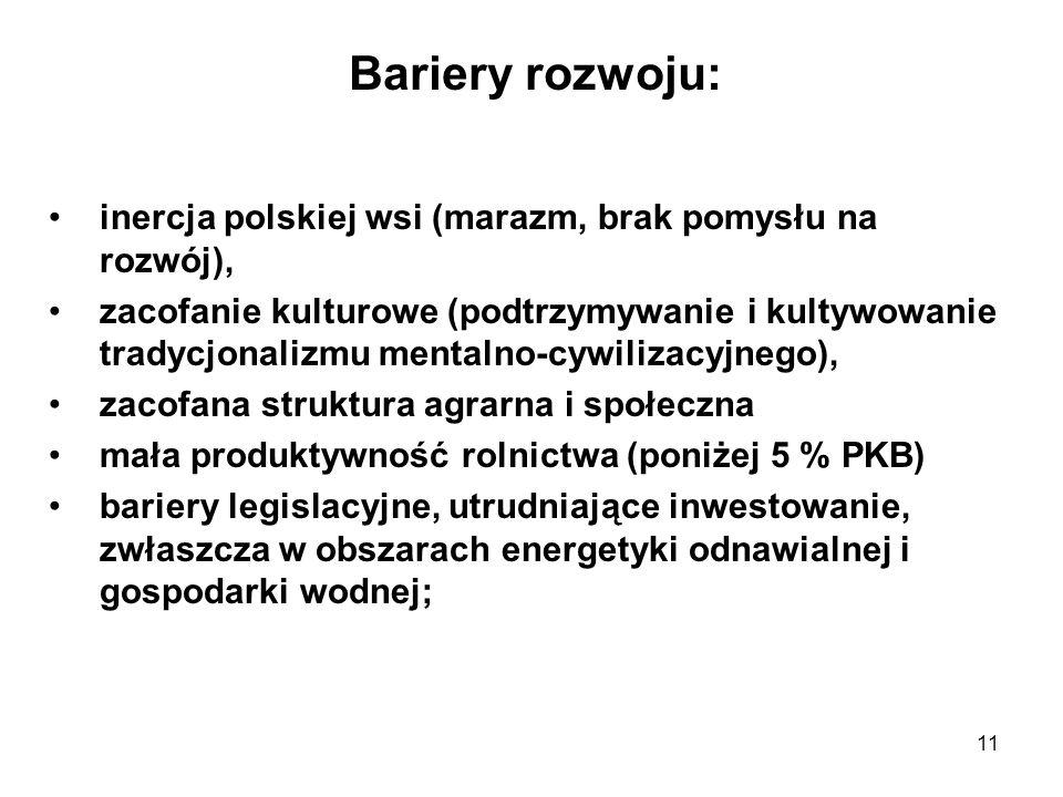 11 Bariery rozwoju: inercja polskiej wsi (marazm, brak pomysłu na rozwój), zacofanie kulturowe (podtrzymywanie i kultywowanie tradycjonalizmu mentalno-cywilizacyjnego), zacofana struktura agrarna i społeczna mała produktywność rolnictwa (poniżej 5 % PKB) bariery legislacyjne, utrudniające inwestowanie, zwłaszcza w obszarach energetyki odnawialnej i gospodarki wodnej;