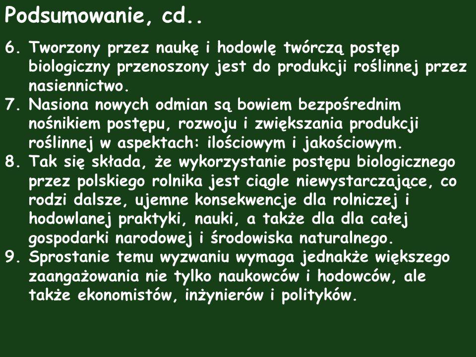Podsumowanie, cd.. 6.Tworzony przez naukę i hodowlę twórczą postęp biologiczny przenoszony jest do produkcji roślinnej przez nasiennictwo. 7.Nasiona n
