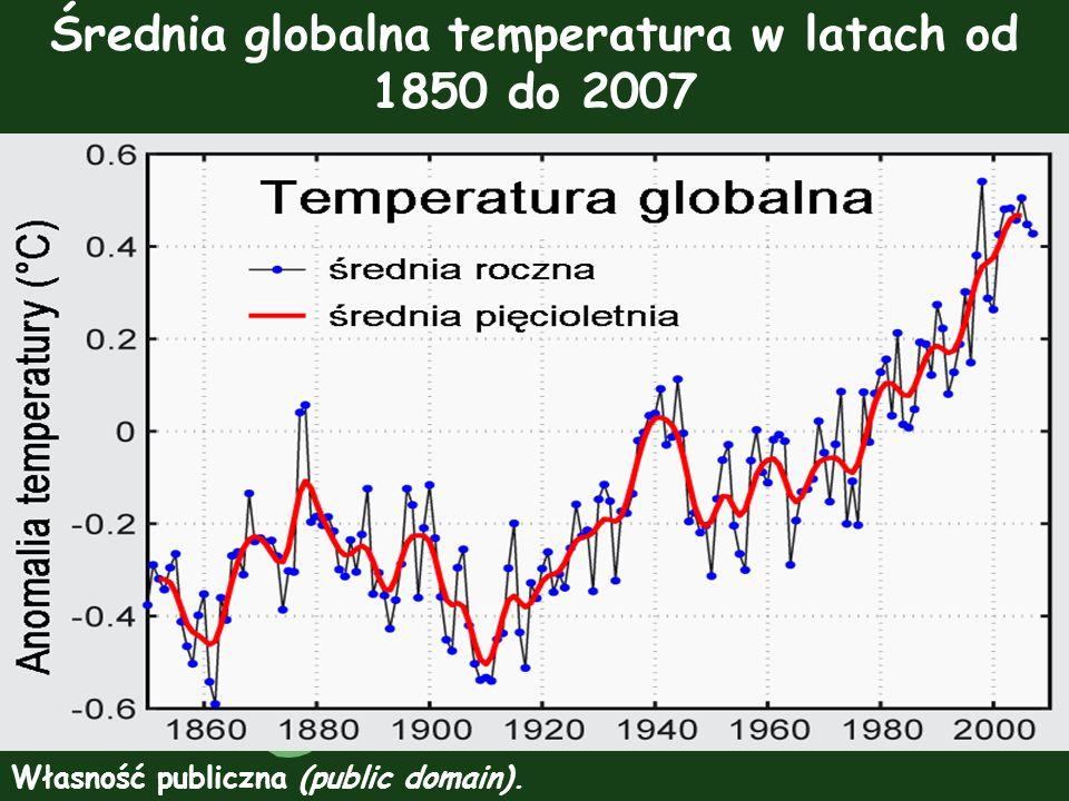 Średnia globalna temperatura w latach od 1850 do 2007 Własność publiczna (public domain).