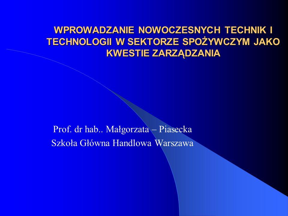 WPROWADZANIE NOWOCZESNYCH TECHNIK I TECHNOLOGII W SEKTORZE SPOŻYWCZYM JAKO KWESTIE ZARZĄDZANIA Prof. dr hab.. Małgorzata – Piasecka Szkoła Główna Hand