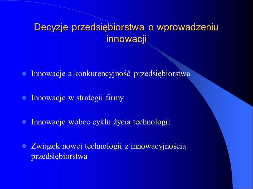 Czynniki kształtujące decyzje o wprowadzeniu nowej techniki czy technologii Potrzeby i zachowania kupujących Obecna i przyszła sytuacja w konkurencji Poziom rozwoju techniki i kierunki rozwoju technologii Strategia przedsiębiorstwa