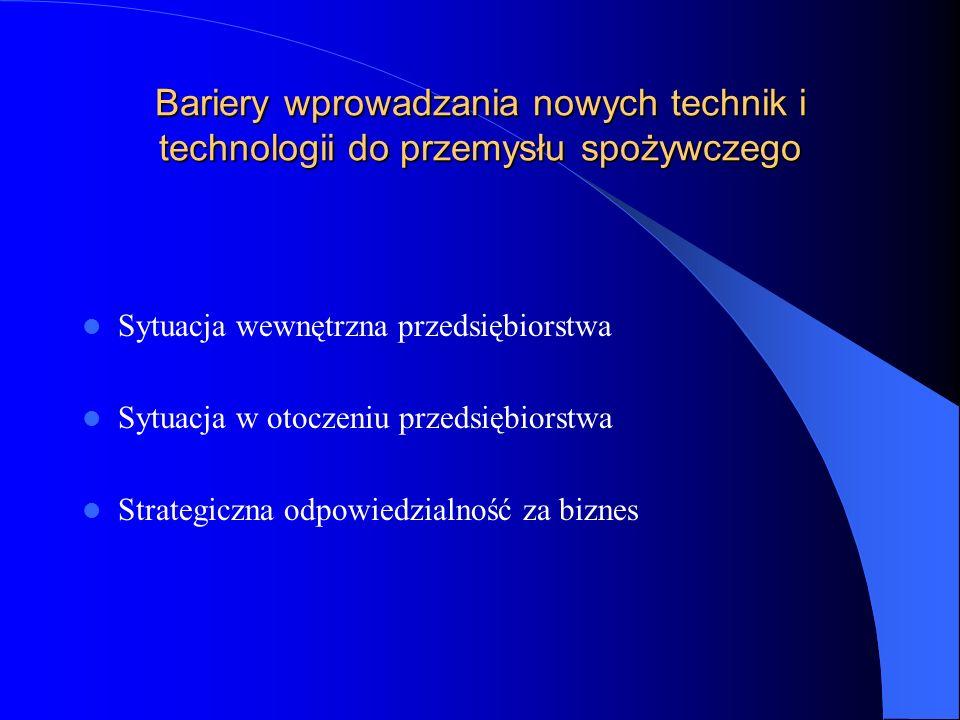 Bariery wprowadzania nowych technik i technologii do przemysłu spożywczego Sytuacja wewnętrzna przedsiębiorstwa Sytuacja w otoczeniu przedsiębiorstwa