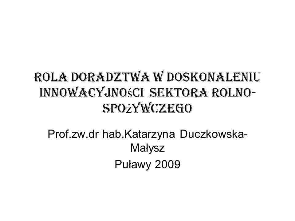 Rola Doradztwa w doskonaleniu innowacyjno ś ci sektora Rolno- spo ż ywczego Prof.zw.dr hab.Katarzyna Duczkowska- Małysz Puławy 2009