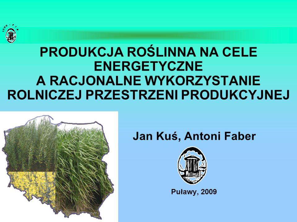PRODUKCJA ROŚLINNA NA CELE ENERGETYCZNE A RACJONALNE WYKORZYSTANIE ROLNICZEJ PRZESTRZENI PRODUKCYJNEJ Jan Kuś, Antoni Faber Puławy, 2009