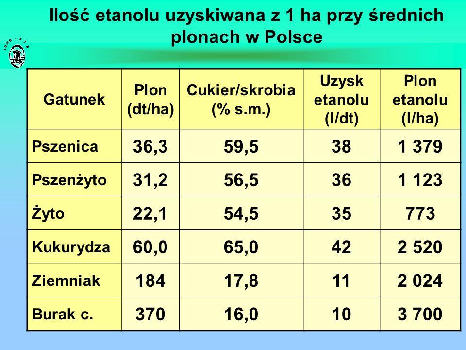 Ilość etanolu uzyskiwana z 1 ha przy średnich plonach w Polsce Gatunek Plon (dt/ha) Cukier/skrobia (% s.m.) Uzysk etanolu (l/dt) Plon etanolu (l/ha) P